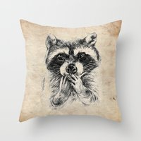 rocket raccoon Throw Pillows featuring Surprised raccoon by Anna Shell