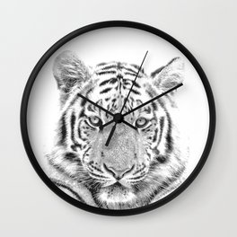 Black and white tiger Wall Clock