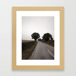 misty road in derbyshire Framed Art Print