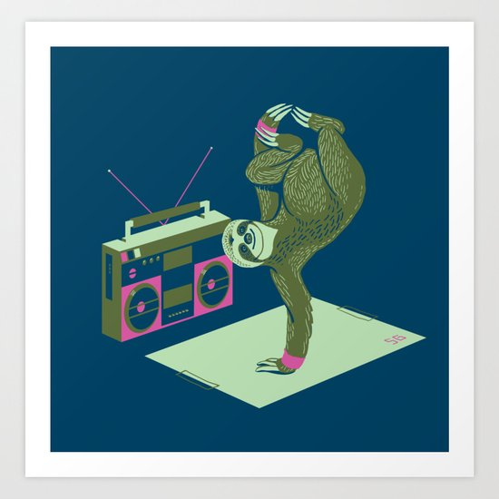 Breakdancing Sloth Art Print