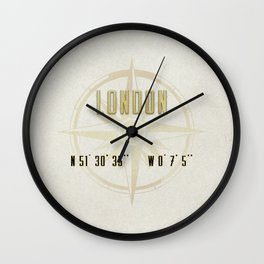 London - Vintage Map and Location Wall Clock