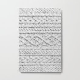 White Knitted Wool Metal Print