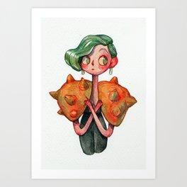A curious Horned Melon Art Print