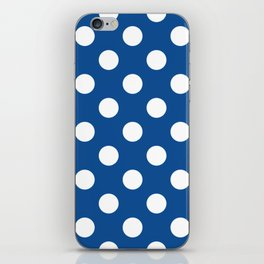 Yale Blue - blue - White Polka Dots - Pois Pattern iPhone Skin