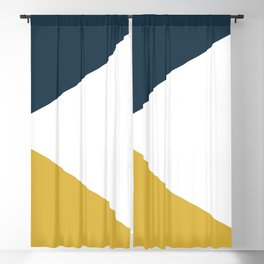 Jag: Minimalist Angled Color Block in Light Mustard, Navy Blue, and White Blackout Curtain