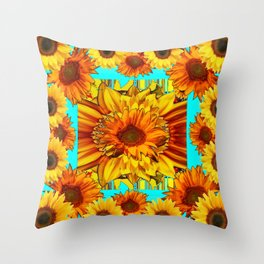 TURQUOISE ART DECO-BROWN YELLOW SUNFLOWERS Throw Pillow