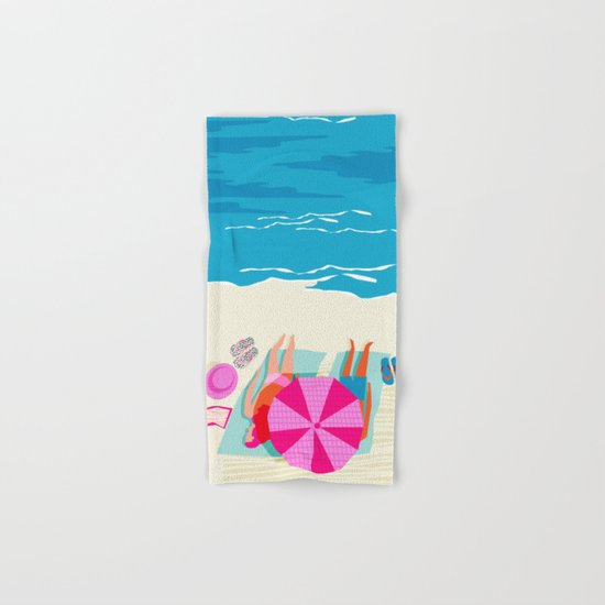 Toasty - memphis throwback minimal retro neon beach surfing suntan waves ocean socal pop art Hand & Bath Towel