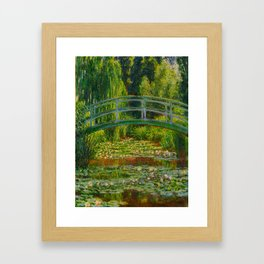 Claude Monet Impressionist Landscape Oil Painting-The Japanese Footbridge and the Water Lily Pool, Framed Art Print