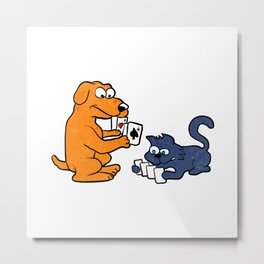 dog and cat playing cards Metal Print