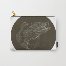 Largemouth Bass Scratchboard Carry-All Pouch