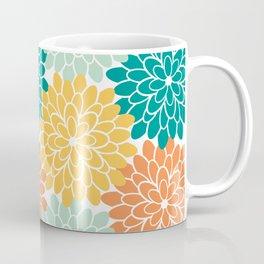 Petals in Orange, Mint, Apricot and Jade Coffee Mug