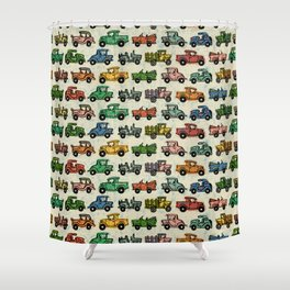 Old Timey Cars Shower Curtain