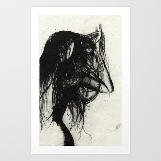Girl Etching 5 Art Print