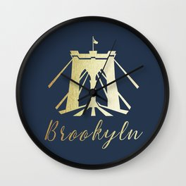 Brooklyn Bridge in Gold Wall Clock
