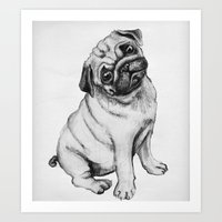 pug Art Prints featuring Pug by Maripili
