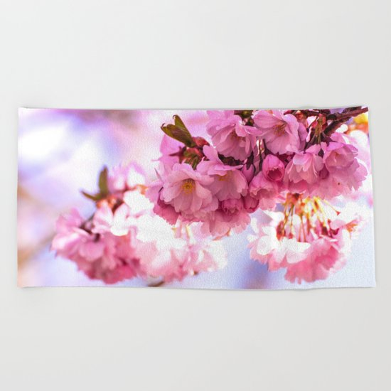 Pink Japanese Cherry Blossom, Sakura Beach Towel