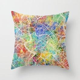 Rome Italy City Map Throw Pillow