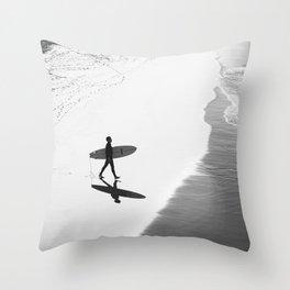 Surfer at Manhattan Beach Throw Pillow