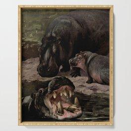 Vintage Hippopotamus Painting (1909) Serving Tray
