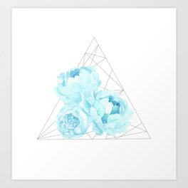 Blue Peonies (White) Art Print
