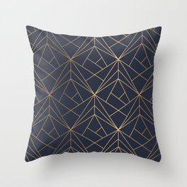 Navy blue Gold Geometric Pattern With White Shimmer Throw Pillow