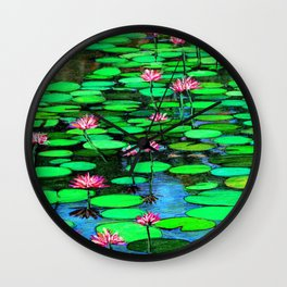 Homage to Ponds, Lilies and Lily Pads Wall Clock