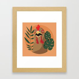 Chicken and Leaves Framed Art Print