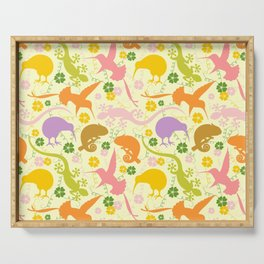 Animals Exotic Pastel Colors Shapes Pattern Serving Tray