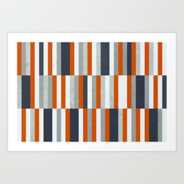 Orange, Navy Blue, Gray / Grey Stripes, Abstract Nautical Maritime Design by Art Print