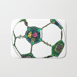 Floral Soccer Ball Bath Mat