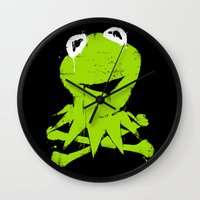kermit Wall Clocks featuring Pochoir - Kermit by Krikoui
