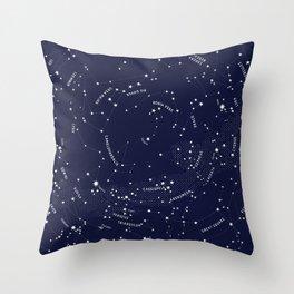 Constellation Map - Indigo Throw Pillow