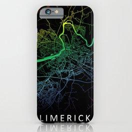 Limerick, Ireland, City, Map, Rainbow, Map, Art, Print iPhone Case