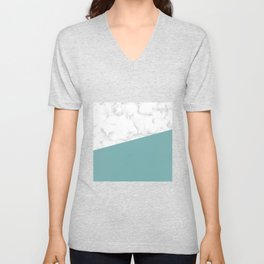 marble and green turquoise Unisex V-Neck