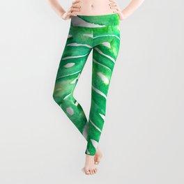Monstera Leaf in Watercolor Leggings