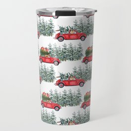 Corgis in car in winter forest Travel Mug