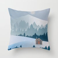 cabin pressure Throw Pillows featuring Cabin by Eric-Bird