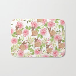 Pink brown watercolor roses floral bunny rabbit Bath Mat