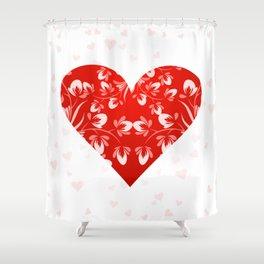 Romantic Floral Valentine Heart Shower Curtain