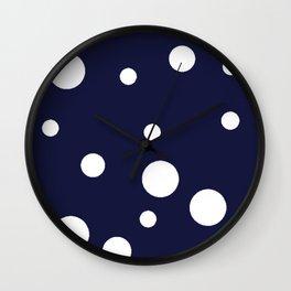 Polka Dot Party, Navy Wall Clock