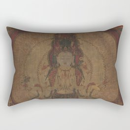 Eleven-Headed, Thousand-Armed Bodhisattva of Compassion 16th Century Classical Tibetan Buddhist Art Rectangular Pillow