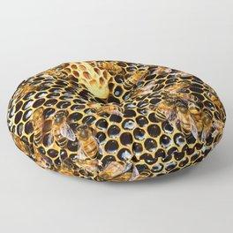 swarm of bees on honeycomb Floor Pillow