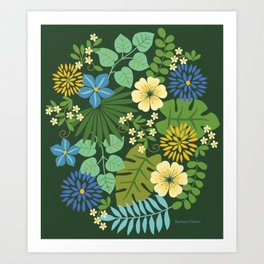 Tropical Blue and Yellow Floral Art Print