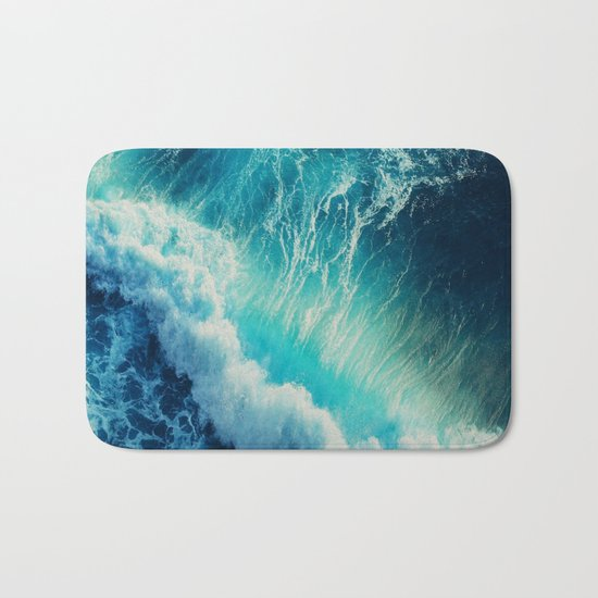 Waving Blue Bath Mat