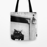 boys Tote Bags featuring boys by courtneeeee