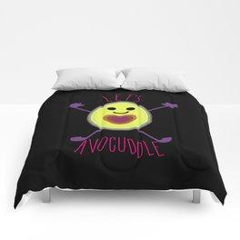 Let's Avocuddle AVOCADO - dark bg Comforters