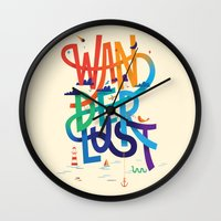 wanderlust Wall Clocks featuring Wanderlust by Wharton