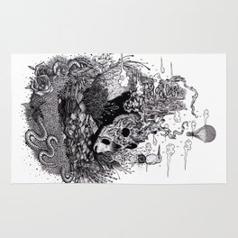 Land of the Sleeping Giant (ink drawing) Rug