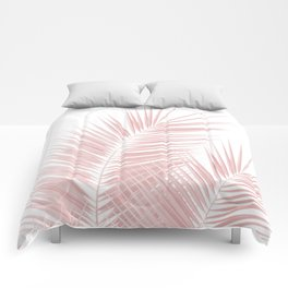 Blush Pink Palm Leaves Dream - Cali Summer Vibes #1 #tropical #decor #art #society6 Comforters