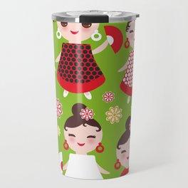 Seamless pattern spanish Woman flamenco dancer. Kawaii cute face with pink cheeks and winking eyes. Travel Mug